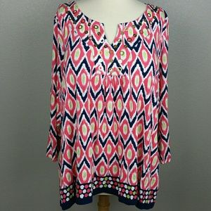 Ruby Rd peach navy green gold Ikat blouse NWOT 2X